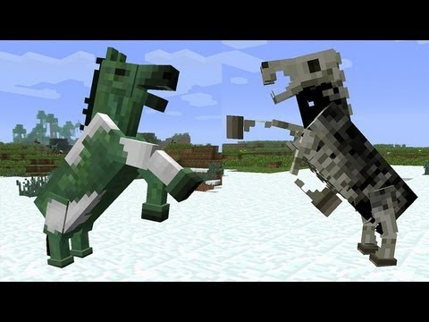 MineCraft 1.6 Snapshot 13w17a Zombies Horses. Skeleton Horses. Seasons. Chat System!