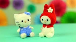 Как свалять игрушки Hello Kitty из шерсти для начинающих