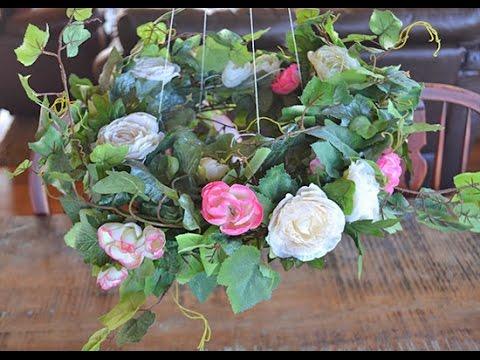 DIY Romantic Hanging Floral Chandelier