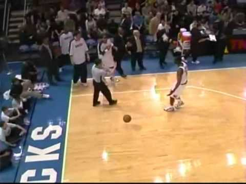 An angry Allen Iverson throws the ball at referee Scott Foster and gets a technical foul for it. Later on AI even plays a prank on Scott Foster, luckily enough - doesn't get ejected (would...