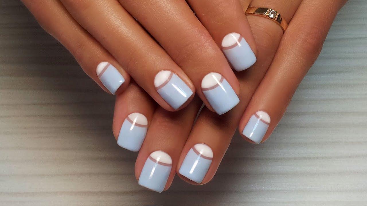 Лунный маникюр гель лаком фото дизайн на короткие ногти
