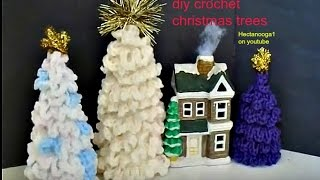CROCHET CHRISTMAS TREES, DIY, Christmas decorations, ornaments, free standing trees for mantle