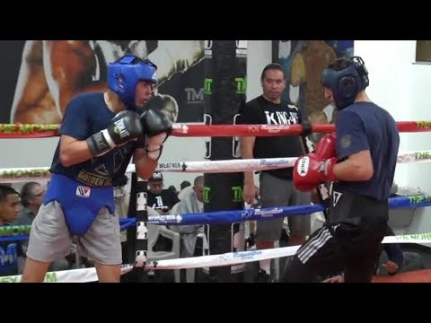 Red hot prospect Ryan Garcia sparring Petru Apostol inside the Mayweather Boxing Club  #TBT
