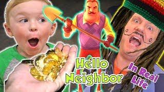 Hello neighbor In Real Life Treasure Hunt in the Dark on Vacation | DavidsTV