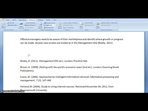 Harvard referencing using Microsoft Word