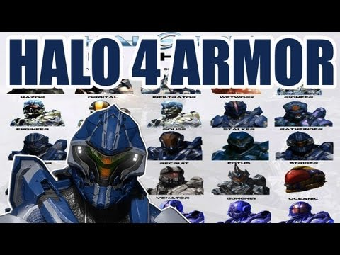 Halo 4 Armor - ALL Helmets, Torso, and Shoulder + Skins!