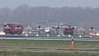 FlyBe dash 8 crash landed @ Amsterdam Schiphol Airport.