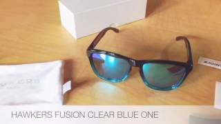 Sunglasses HAWKERS Fusion Clear Blue One unboxing