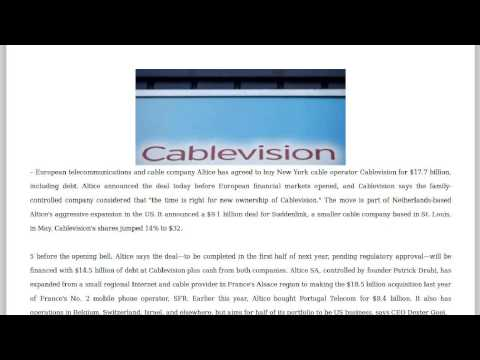 Press review: Telecom Giant Nabs Cablevision in $18B Deal