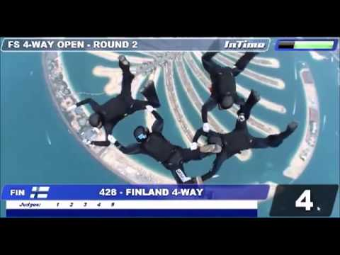 Finland / Formation Skydiving 4-way Open Rd 2, Mondial 2012 Dubai