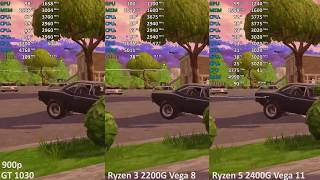 Fortnite: Battle Royale 5 - GeForce GT 1030 vs. Ryzen 5 2400G vs. Ryzen 3 2200G - Benchmark Test