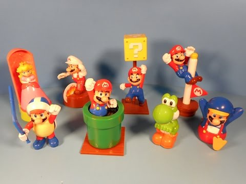 2014 SUPER MARIO SET OF 8 McDONALD'S HAPPY MEAL KID'S TOY'S VIDEO REVIEW