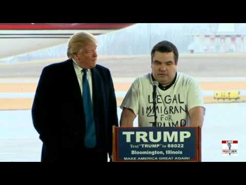 Legal Immigrant comes on stage with Trump in Illinois (3-13-16)