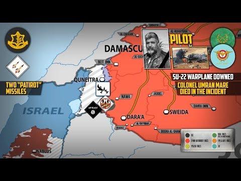 25 июля 2018. Военная обстановка в Сирии. Израиль сбил сирийский Су-22 над Голанскими высотами.