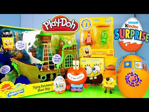 Play Doh Spongebob Squarepants Toys Flying Dutchman Ghost Ship Toy Review Kinder Surprise Egg video
