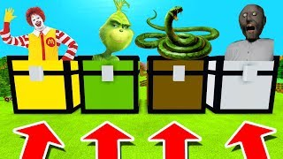 Minecraft PE : DO NOT CHOOSE THE WRONG CHEST! (Ronald Mcdonald, Grinch, Anaconda & Granny)