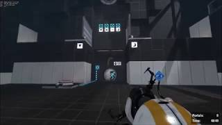 """Portal 2 Coop Challenge Mode: """"Buttons"""" Done With 3 Portals"""