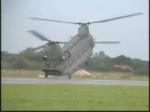 CH-47 Chinook helicopter-RAF HC Mk2/2A Boeing-wheelie in reverse-emergency landing demonstration.