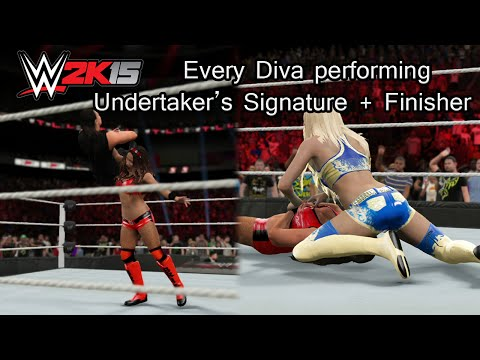 WWE 2K15 (PS4) Every Diva Performing Undertaker's Signature + Finisher