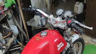 Comfertable handlebar setup on royal Enfield continental GT 535 and glimps of my new workshop