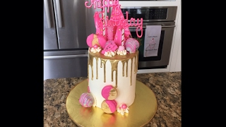Pink and Gold Drip Cake Tutorial