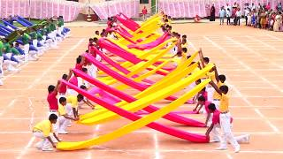 Saree drill (Satin cloth display), sports day celebration-2018