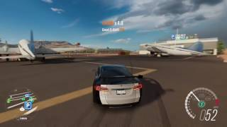 Forza Horizon 3 Drifting the Tesla Model S around the airport track