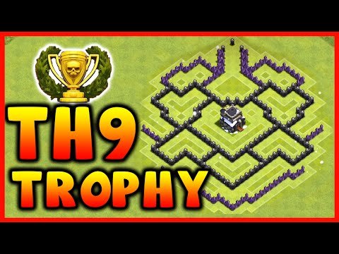 Clash of Clans - DEFENSE STRATEGY - Townhall Level 9 Trophy Base Layout (TH9 Defensive Strategies)