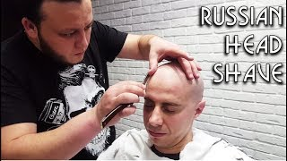 💈 Russian Barber Style - Head Shave with Hot Towel and Ears and Nose Hair trimming ASMR intentional