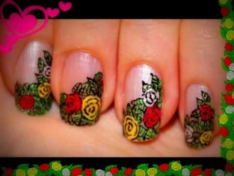 Rose Garden 2 Nail Design for short nails. Migi Nail Art Pen - YouTube