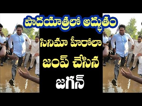 YS Jagan Praja Sankalpa Yatra Young Political Hero Jumping On Water at  Chepurupalli  # 2day2morrow