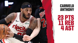 Carmelo Anthony (23 PTS, 11 REB) Highlights | Trail Blazers vs. Bulls