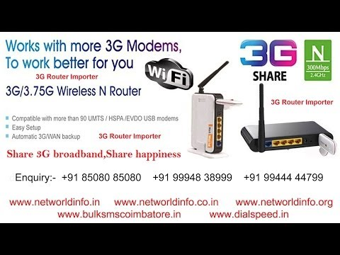 3G Wi-Fi Router Importer Coimbatore Tamilnadu India - Net World