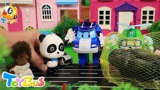 Little Panda Rescues Baby Hedgehog | Super Poli Rescue Team | Toy Story for Kids | ToyBus