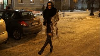 Winter walk in my beautiful city in thigh high platform boots and fur coat