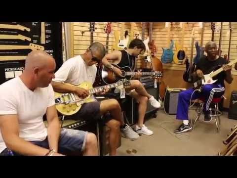 Bobby Watson, Waylon, Jeroen and Cesar at Norman's Rare Guitars
