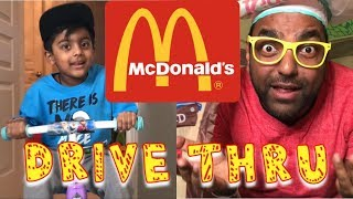 Aaron & Mimi Pretend Play McDonald's Drive Thru | Food Toys for Kids with Happy Meal Surprise!