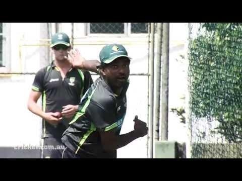 Murali puts on the Aussie shirt
