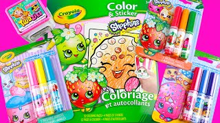 Shopkins Crayola Coloring Sticker Book! Speed Color Strawberry Kiss! Twozies Unboxing