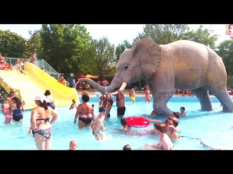 Slides For Kids In Water Park With Big Elephant. Funny Video From KIDS TOYS CHANNEL