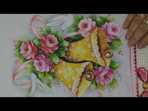 Pintura em Tecido. Aprenda Pintar Arranjo de Natal com Sinos Dourados