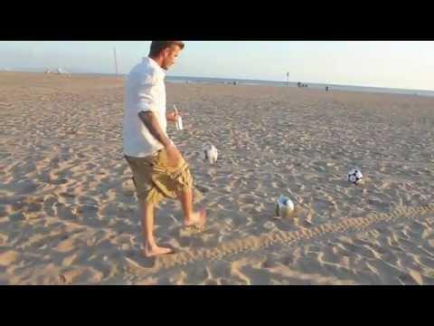 David Beckham Unbelievable Shooting Skills On Beach.flv
