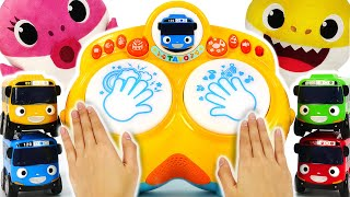 Baby Shark and Baby Tayo Pang pang Drum game! Let's sing together! #PinkyPopTOY