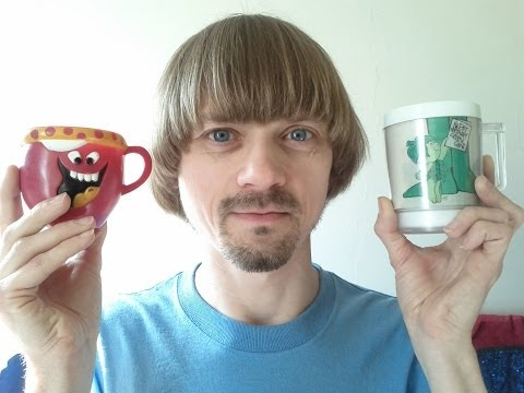 Green Giant and Funny Face Mugs! -(Weird Paul)  70's mug collection drink mix commercial