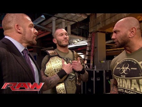 Batista Confronts Randy Orton: Raw, Feb. 17, 2014 video