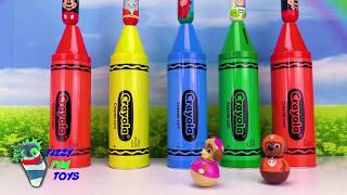 Learn Colors with Mickey Mouse Clubhouse and Paw Patrol Crayons