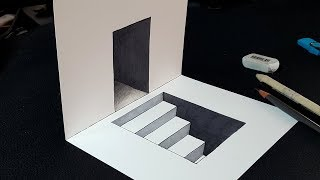 Easy Trick! How to Draw 3D Stairs in Door - Easy 3D Drawing for Kids