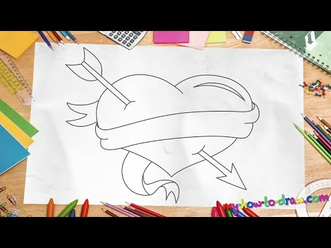 How to draw a Love Heart - Easy step-by-step drawing lessons for kids