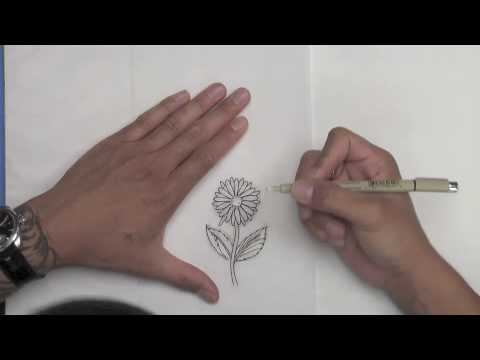 How to draw a flower and butterfly for a tattoo design - Element Tattoo