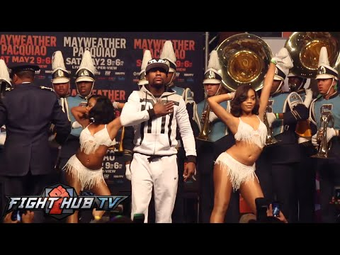Floyd Mayweather vs. Manny Pacquiao Full Video- Mayweather FULL grand arrival w/ SU marching band